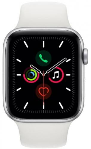 APPLE Watch 5 44mm Silver Aluminium with White Sport Band