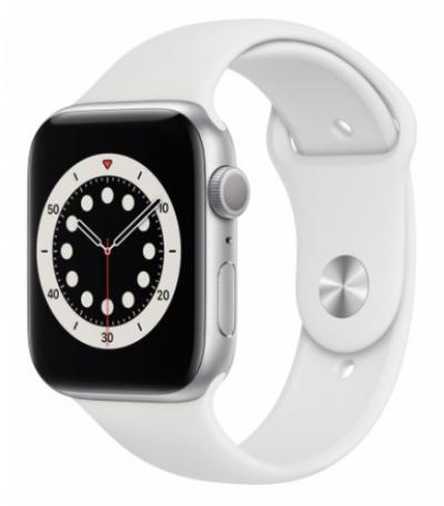 APPLE Watch 6 44mm Silver Aluminium with White Sport Band