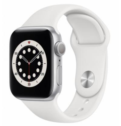 APPLE Watch 6 40mm Silver Aluminium with White Sport Band