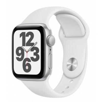APPLE Watch SE 44mm Silver Aluminium with White Sport Band